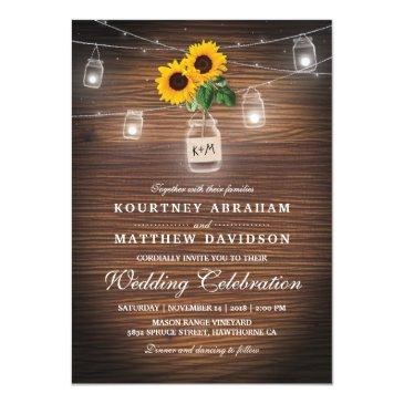 backyard rustic mason jar sunflower lights wedding