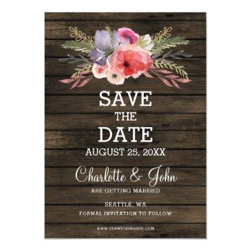 barn wood floral rustic country save the date magnetic