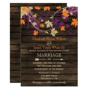 barn wood, rustic fall plum leaves wedding