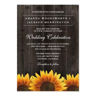 barn wood + rustic sunflower wedding invitationss