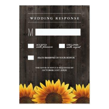 Small Barn Wood  Rustic Sunflower Wedding Rsvp Front View