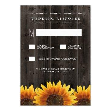 barn wood  rustic sunflower wedding rsvp