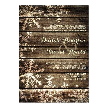 Small Barn Wood Snowflakes Rustic Winter Wedding Front View