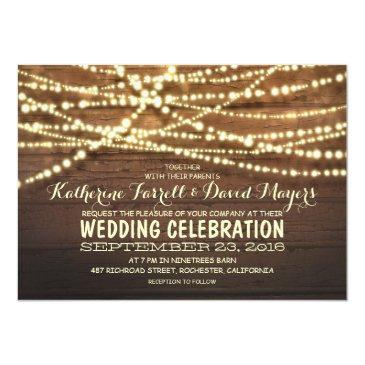 Small Barn Wood String Lights Rustic Wedding Invitationss Front View