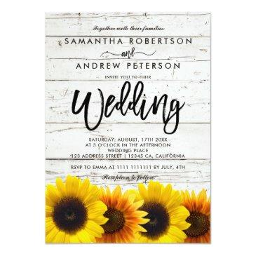 Small Barn Wood Sunflowers Typography Rustic Wedding Invitation Front View