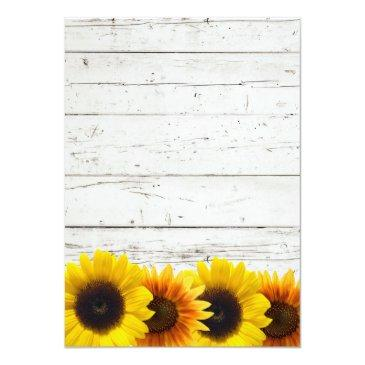 Small Barn Wood Sunflowers Typography Rustic Wedding Invitation Back View