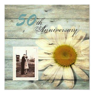 Small Barnwood Country Daisy 50th Wedding Anniversary Invitation Front View
