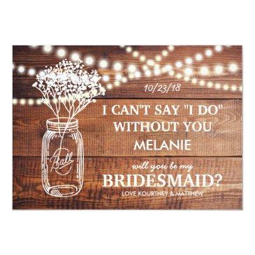 Small Be My Bridesmaid | Rustic Country Bridesmaid Invitationss Front View