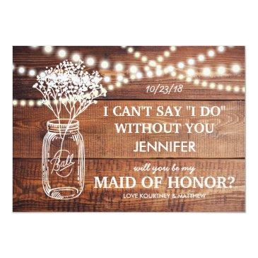 Small Be My Maid Of Honor | Rustic Country Bridesmaid Invitationss Front View