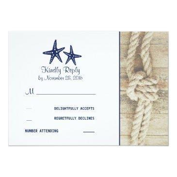 Small Beach Driftwood Rustic Nautical Wedding Rsvp Invitationss Front View