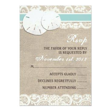 Small Beach Rustic Burlap Lace Rsvp Front View