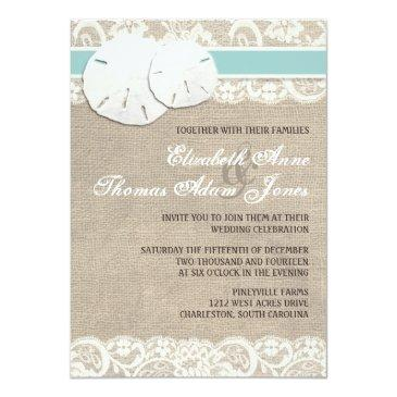 Small Beach Rustic Burlap Lace Wedding Invitation Front View