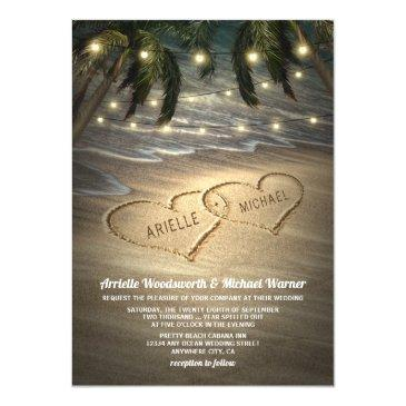 beach shore hearts in the sand wedding invitationss