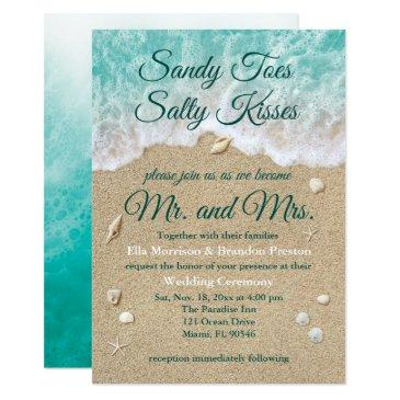 beach waves sandy toes salty kisses wedding invite