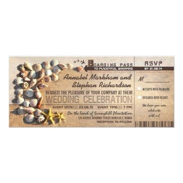 beach wedding boarding pass tickets