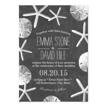 Small Beach Wedding Rustic Vintage Chalkboard Invitation Front View