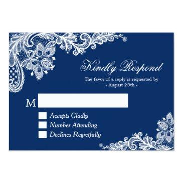 Small Beautiful Navy Blue Lace Wedding Rsvp Reply Invitation Front View