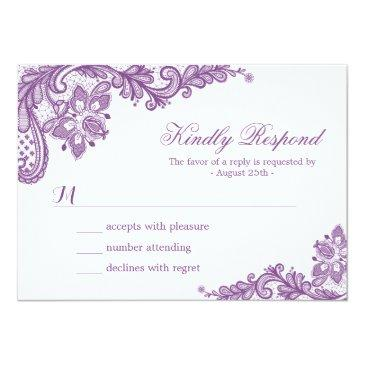 Small Beautiful Purple Lavender Lace Wedding Rsvp Invitationss Front View