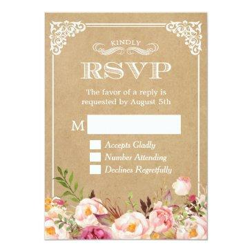 Small Beautiful Rustic Floral Kraft Elegant Wedding Rsvp Front View