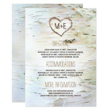 birch bark heart rustic wedding information