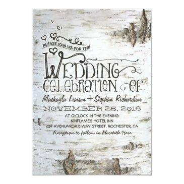 Small Birch Bark Rustic Country Wedding Invitation Front View