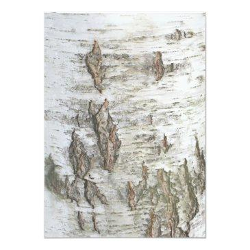 Small Birch Bark Rustic Country Wedding Invitations Back View