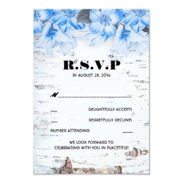 birch bark rustic country wedding rsvp invitationss