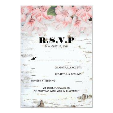 birch bark rustic country wedding rsvp invitation