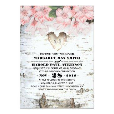 Small Birch Tree Bark Heart Rustic Country Wedding Invitationss Front View