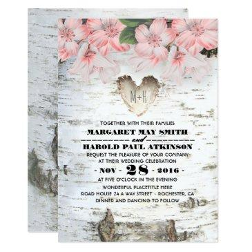 birch tree bark heart rustic country wedding invitations