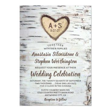 Small Birch Tree Bark Rustic Country Wedding Invitationss Front View