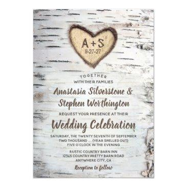 birch tree bark rustic country wedding invitation