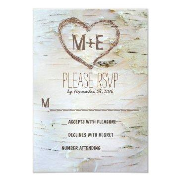 birch tree heart initials rustic wedding rsvp