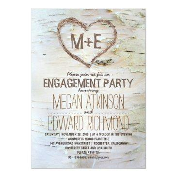 birch tree heart rustic engagement party invites