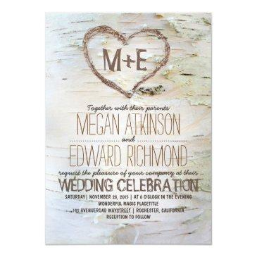 birch tree heart rustic fall wedding invitations