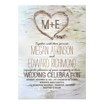 Small Birch Tree Heart Rustic Wedding Front View