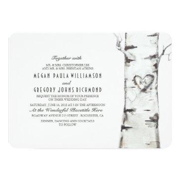 birch tree rustic wedding invitation