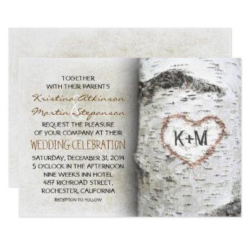 birch tree rustic wedding invitationss