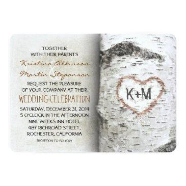 Small Birch Tree Rustic Wedding Invitationss Front View