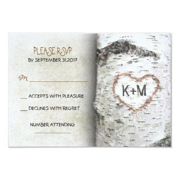 birch tree rustic wedding rsvp