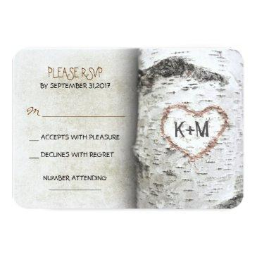 Small Birch Tree Rustic Wedding Rsvp Invitationss Front View
