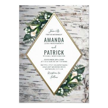 birch tree rustic woodland wedding invitationss