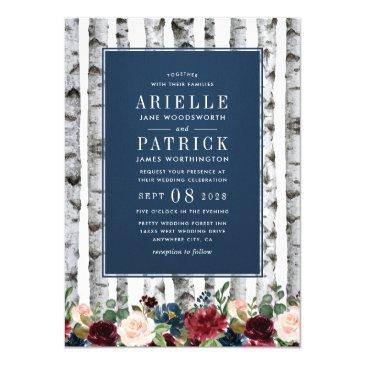 birch trees navy blue burgundy wedding