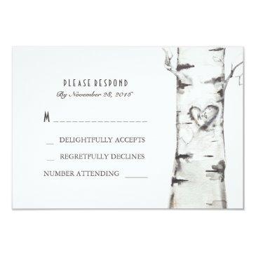 birch wood heart rustic wedding rsvp