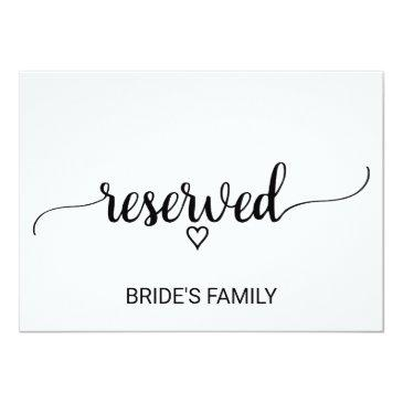 black and white calligraphy wedding reserved sign