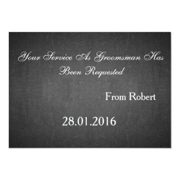 Small Black Chalkboard Suitup Will You Be My Groomsman Invitation Back View