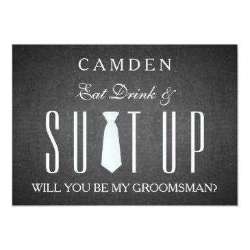 black chalkboard suitup will you be my groomsman