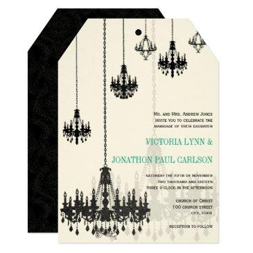 black emerald green damask chandeliers wedding