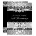 black lace & silver pearl bow 25th anniversary invitations