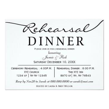 Small Black White Elegant Script Rehearsal Dinner Invite Front View